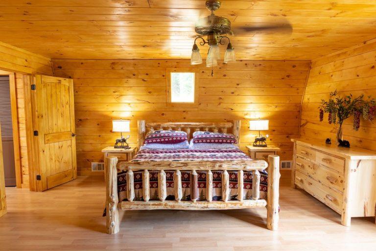 High Foot Board Log Bed
